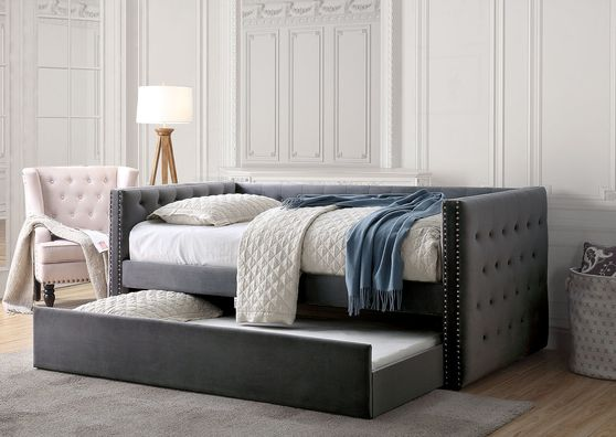 Gray tufted sides daybed w/ trundle