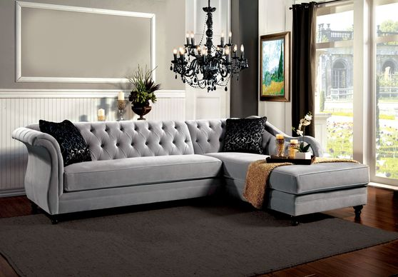 Warm gray fabric tufted back sectional sofa
