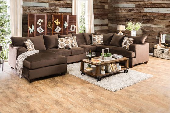 US-made oversized chocolate fabric sectional