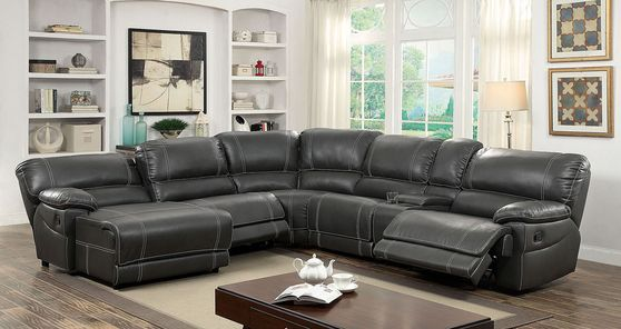 Dark gray leather recliner sectional sofa