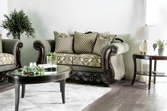 Traditional style gray fabric loveseat / wood trim