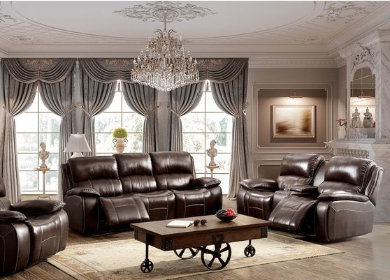 Rustic brown home theater sectional w/ recliners