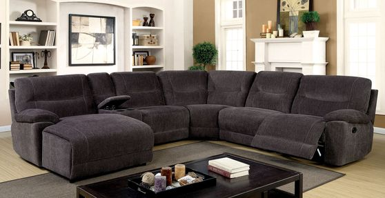 Recliner gray fabric sectional w/ console