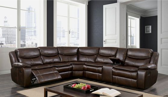 Brown leatherette sectional sofa