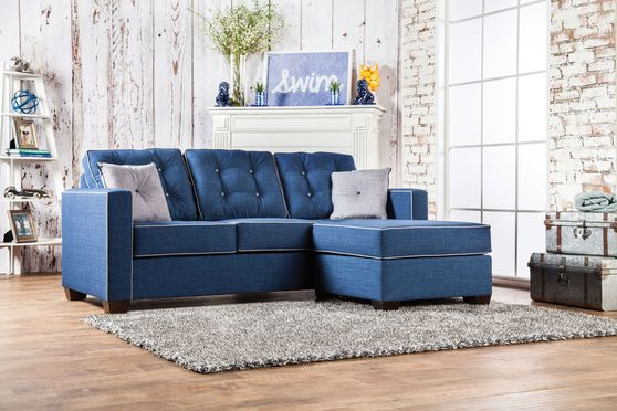 Blue casual linen fabric US-made sectional