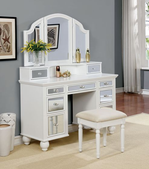 White glam style vanity and stool set