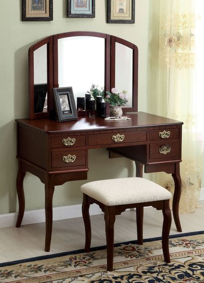 Elegant modern vanity set with stool