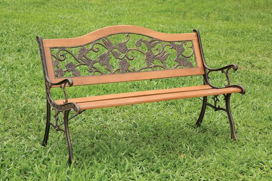 Outdoor/patio wood/cast iron bench