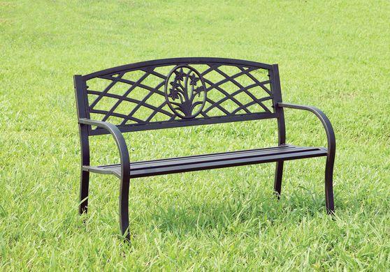Black steel outside / patio bench
