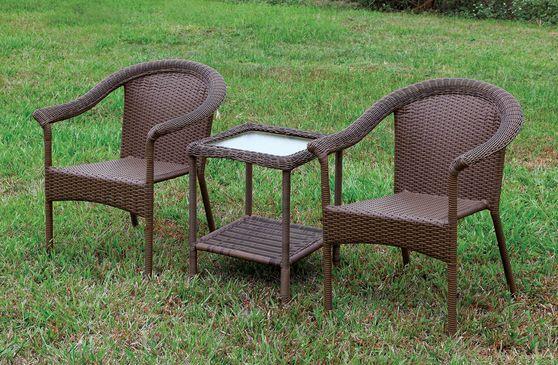 3pcs table + 2 chairs outside patio set