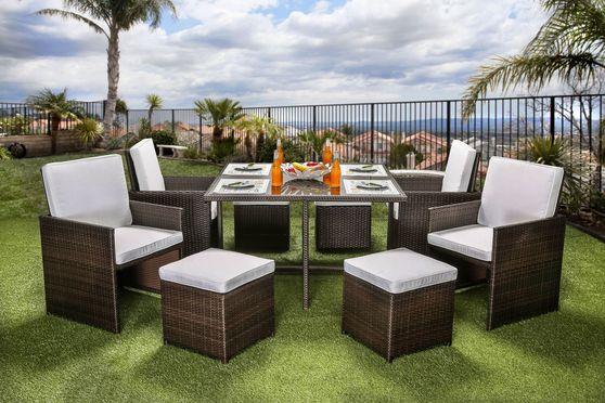 9pcs table, chairs, ottomans patio set