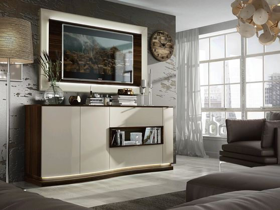 Contemporary wood curved form buffet