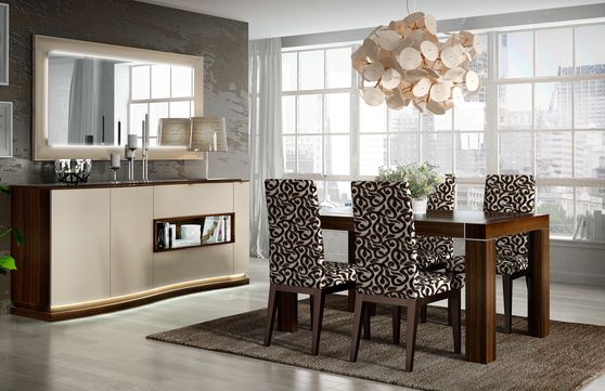 Contemporary wood table e/ extension w/ glass inserts