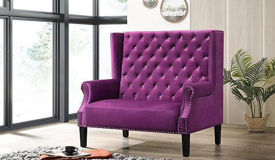 Tall tufted bench / settee in glam style w/ tufted seats