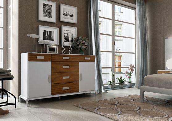 White / walnut ultra-contemporary dresser