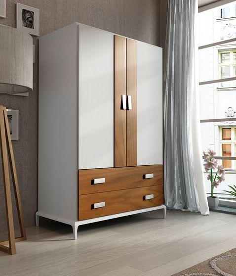 White / walnut ultra-contemporary 2dr wardrobe