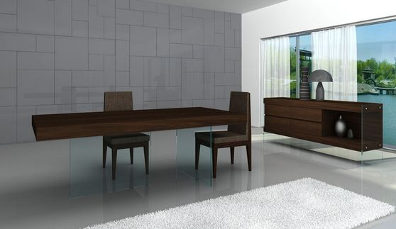 Glass legs / chocolate wood top family dining table