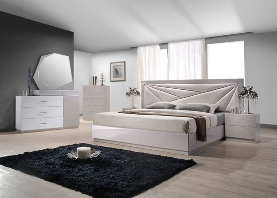 Florence leather headboard king size bed set