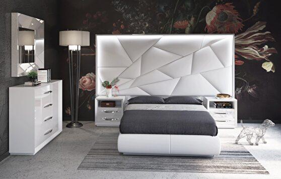 White contemporary storage platform bed