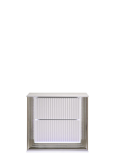 Contemporary white night stand w/ led