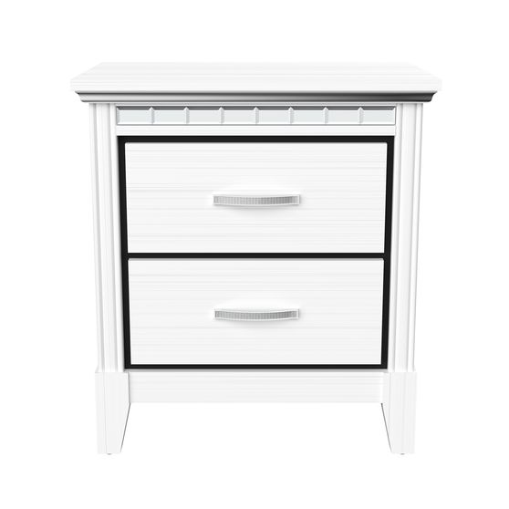 Affordable white night stand w/ mirrored accents