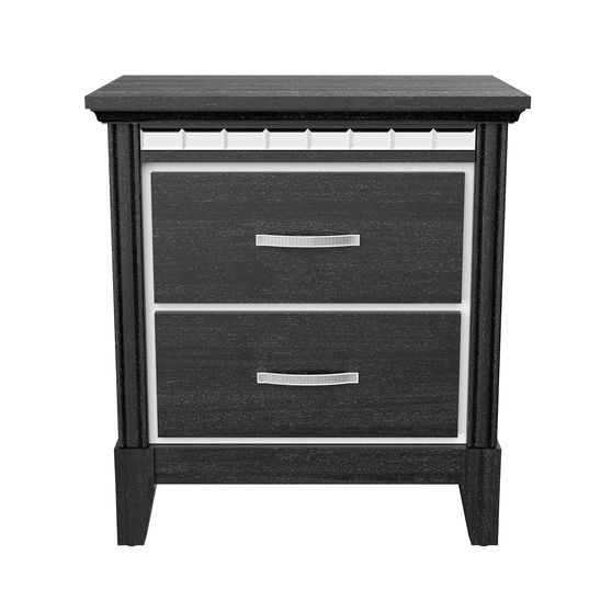 Affordable black contemporary night stand w/ mirrored accents