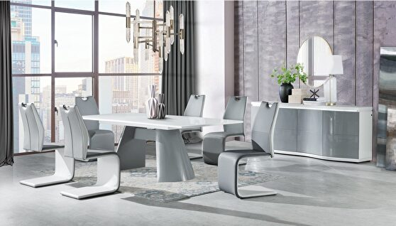 Gray / white extension contemporary dining table