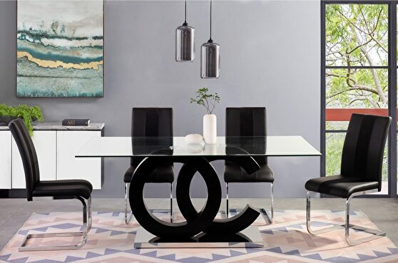 Glass top contemporary dining table