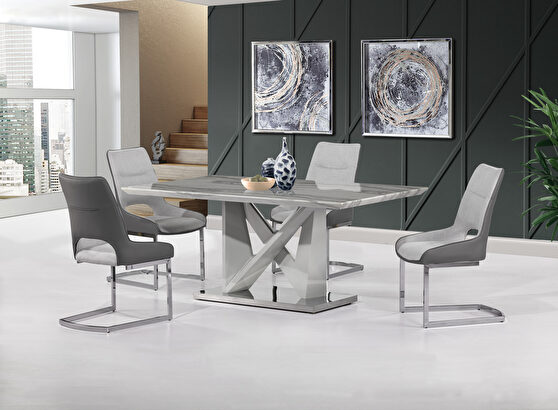 Contemporary gray faux marble top table