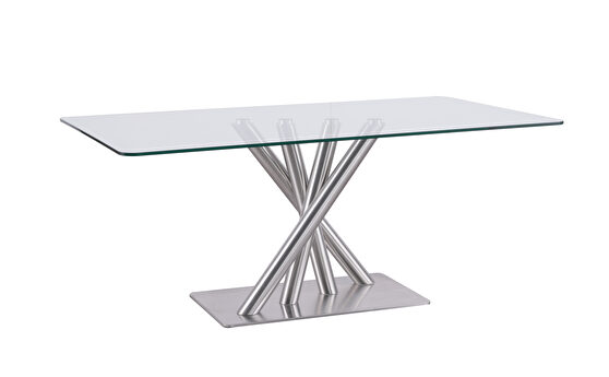 Clear/silver quadpod base dining table