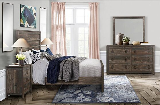 Weathered rustic finish casual style king bed