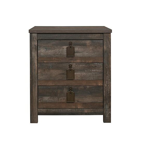 Weathered rustic finish casual style night stand