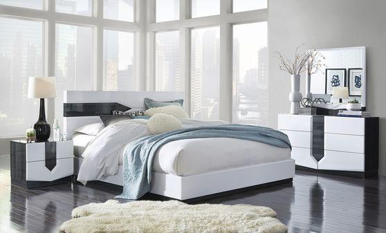 White ultra-modern 5pcs bedroom set