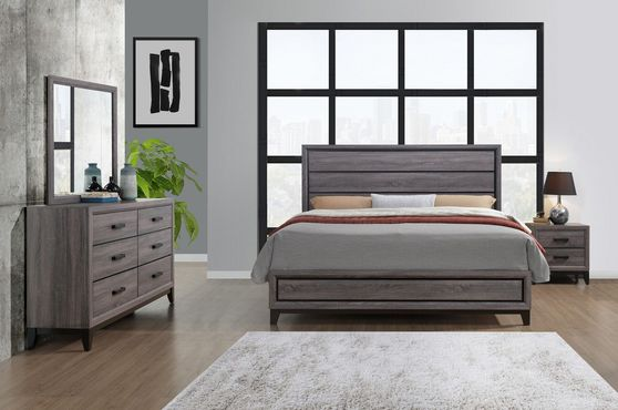 Gray contemporary style casual 5pcs bed set