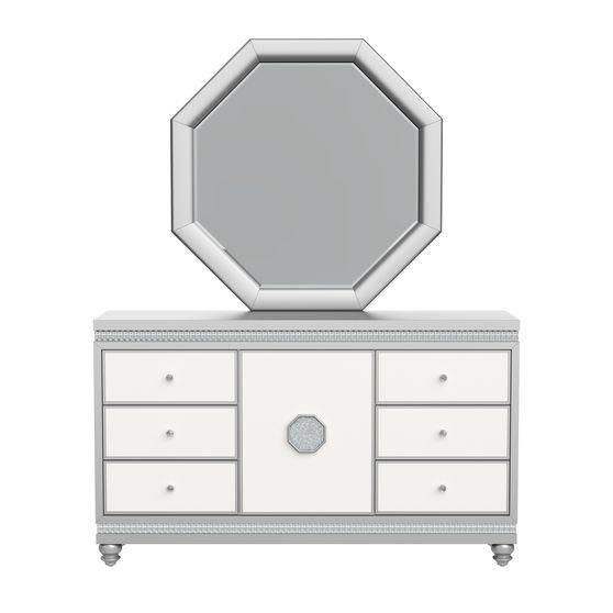 Silver/white contemporary style dresser