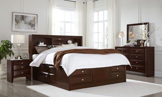 Modern merlot wood 5pcs bedroom set