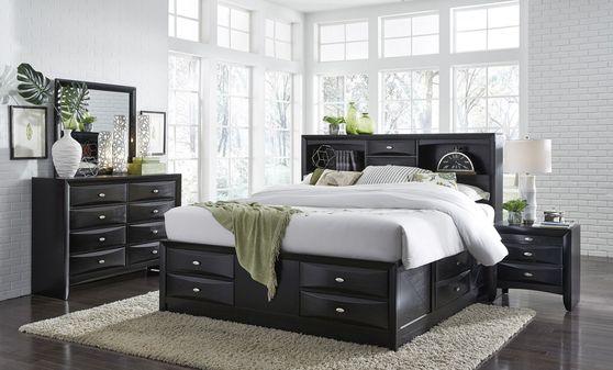Modern black wood 5pcs bedroom set