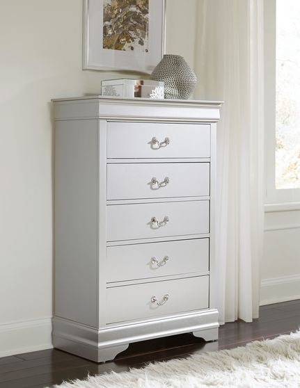 Simple casual style chest in silver finish