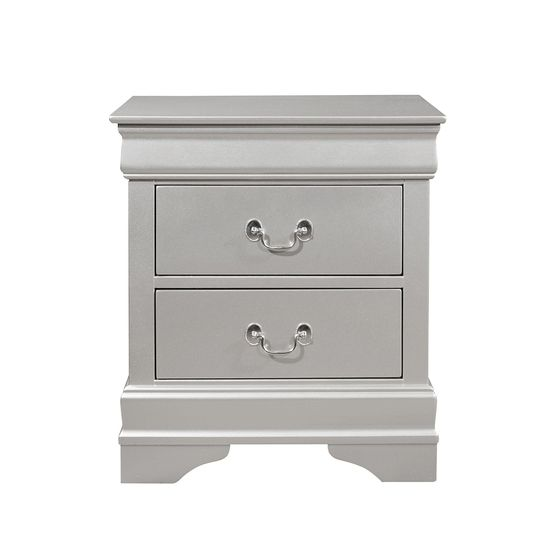 Simple casual style night stand in silver finish