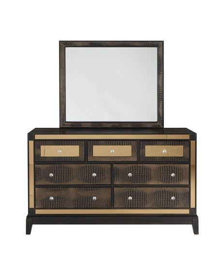 Luxurious golden mirrored accents dresser