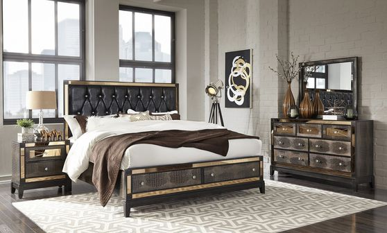Luxurious golden mirrored accents 5pcs bed set