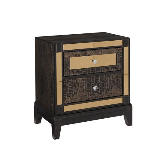 Luxurious golden mirrored accents night stand