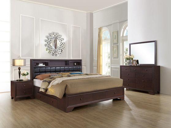 Dark merlot finish wood 5pcs bedroom set