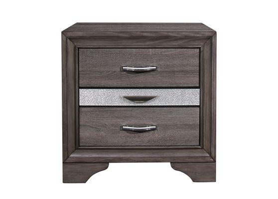 Simple casual style gray finish night stand