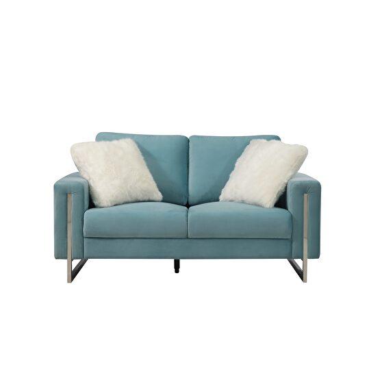Elegant contemporary aqua fabric modern loveseat