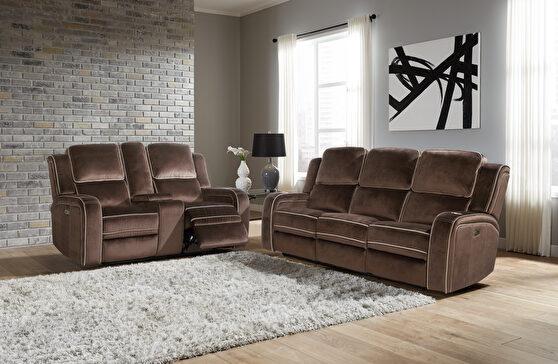 Power recliner sofa in brown fabric