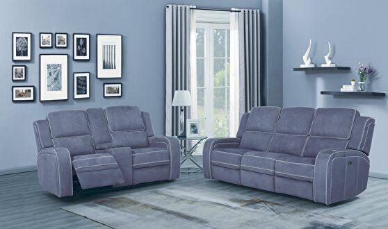 Power recliner sofa in gray fabric