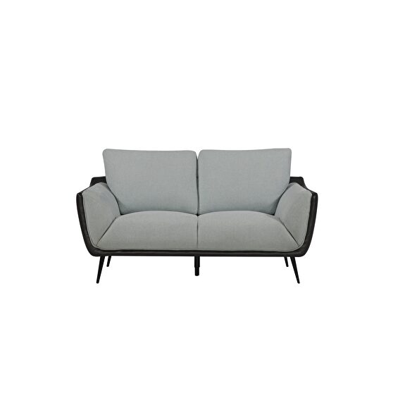 Two toned gray fabric / gray pu leather loveseat