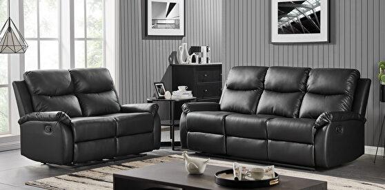 Black pu leather motion recliner sofa