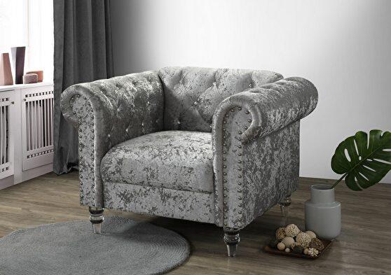 Tufted design low profile glam gray velvet chair